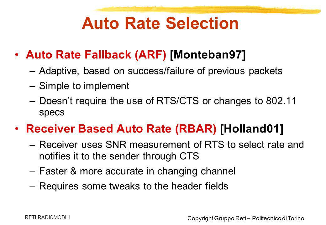 Auto Rate Selection Auto Rate Fallback (ARF) [Monteban97]